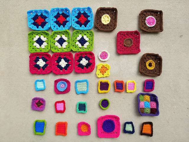 I work another round of rehab on thirty-three future crochet squares