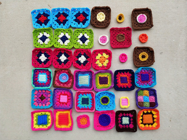 Thirty-five inch rehab crochet squares and six crochet remnants