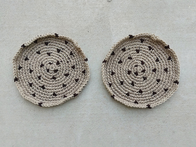Two future chocolate chip cookie inspired felted crochet pot holders