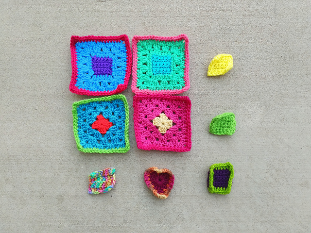My progress on the new nine patch of crochet remnants