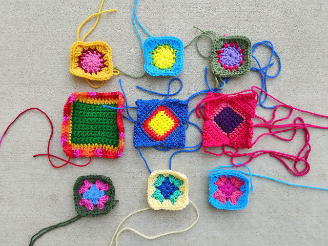 Nine crochet remnants after another round of rehab