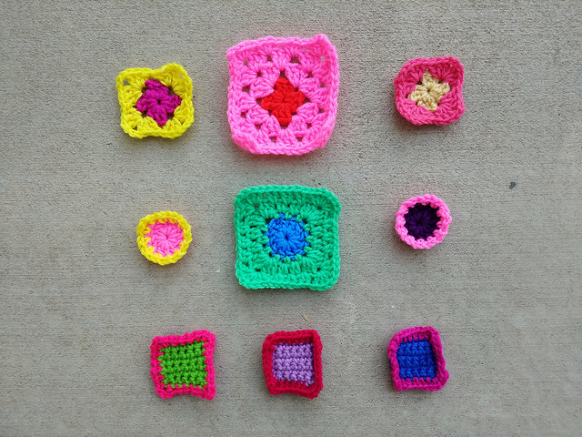 Nine crochet remnants after one round of crochet rehab