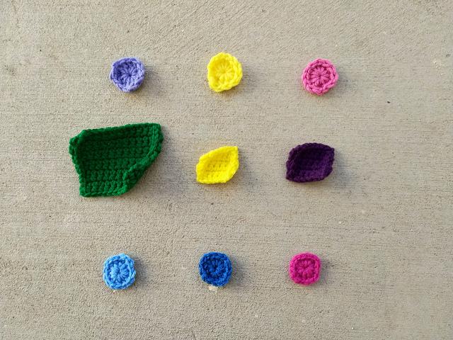 Nine crochet remnants ready for rehab