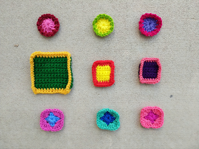 Nine crochet remnants ready for the second round of rehab