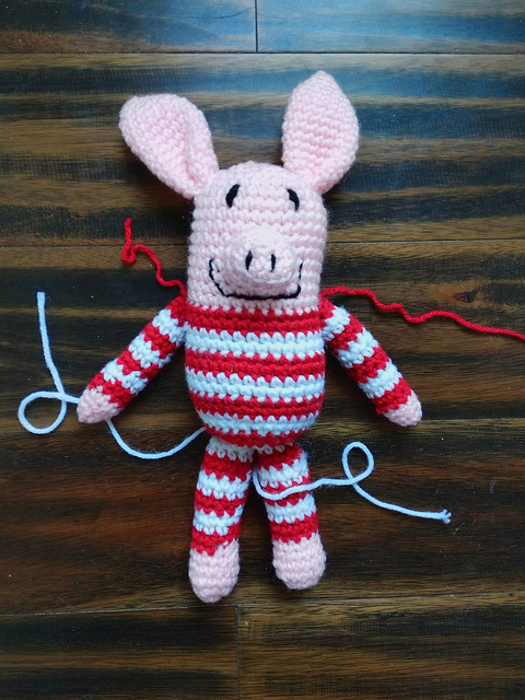 The crochet pig after stuffing
