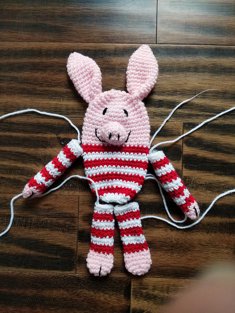 Olive the crochet pig before stuffing