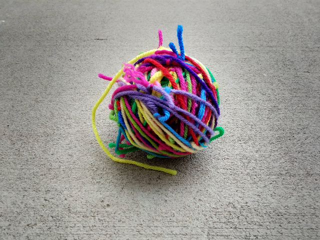 The resulting magic ball of yarn scraps that is visual evidence of crochet beginnings and crochet endings