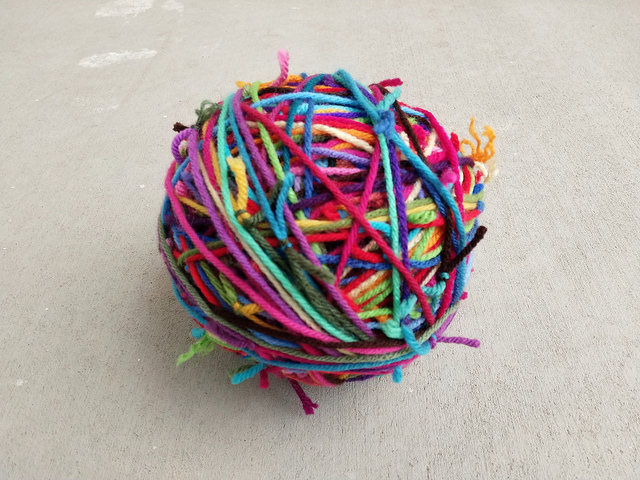 Three balls of scrap yarn transformed into one