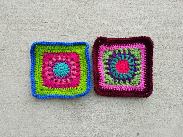 Two six-inch crochet squares left behind from one project are now destined for Project Amigo