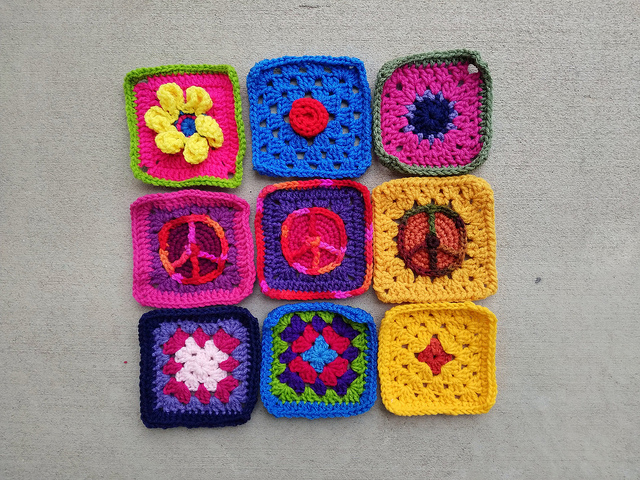 A newly rehabbed nine patch of crochet remnants