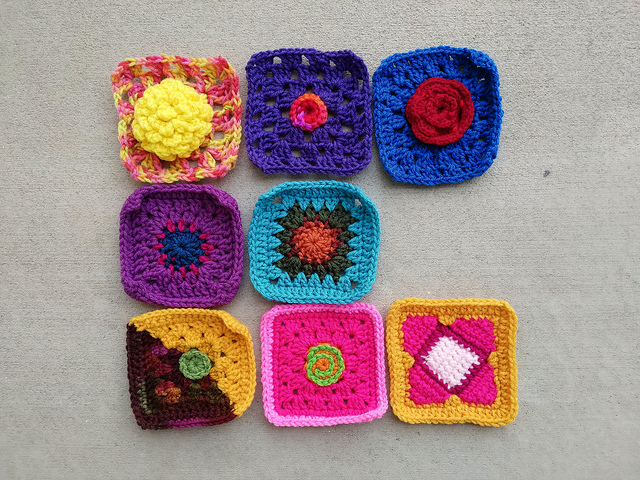 An almost finished nine patch with a crochet remnant gone missing
