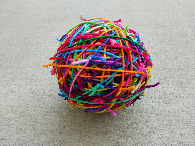 Magic scrap yarn ball