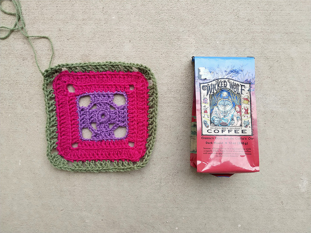 The flamboyant afghan crochet square inspired by a bag of Wicked Wolf Coffee