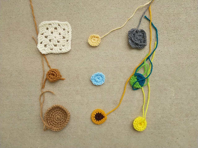 Yet another nine patch of crochet remnants