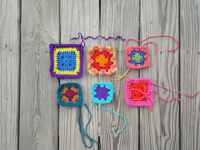 Six crochet remnants with one round of rehab