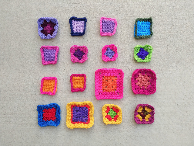 Sixteen crochet remnants ready for a second round of rehab
