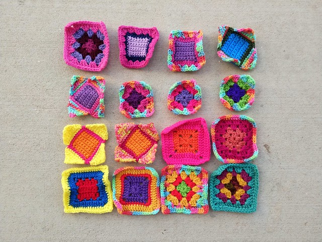 Sixteen substitute crochet remnants ready for another round of rehab