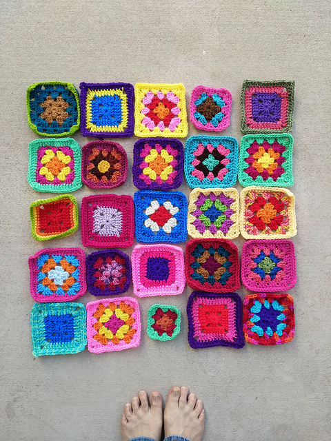 The same twenty-five squares after another round of crochet rehab