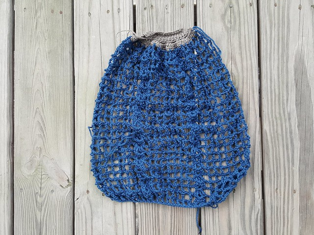 A Frankston crochet market bag; all done except fo the gathering and handles