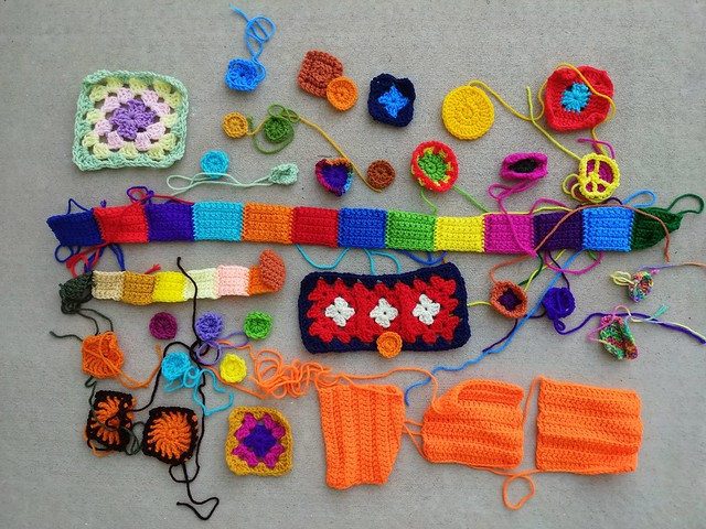 A collection of crochet remnants to be rehabbed