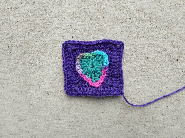 A crochet heart seemingly pops up out of nowhere