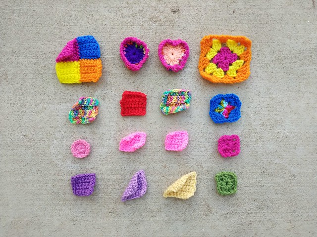 A fresh array of crochet remnants ready for rehab