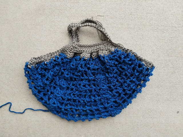 A nearly completed Frankston crochet market bag
