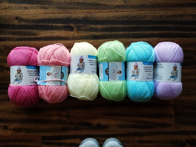 A rainbow of pastel yarns