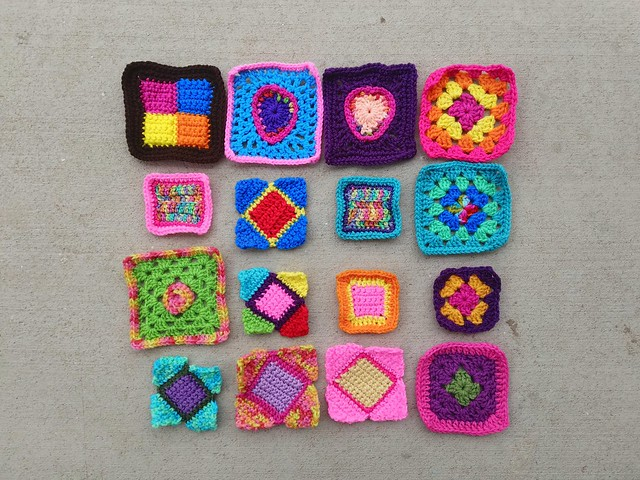 Sixteen crochet remnants ready for another round of rehab