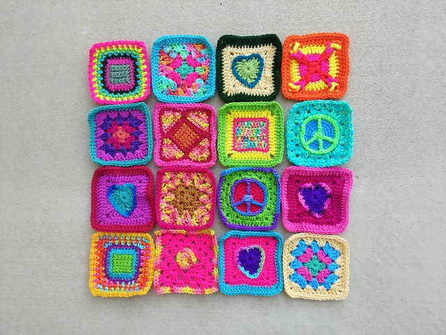 Sixteen crochet remnants rehabbed and ready to go