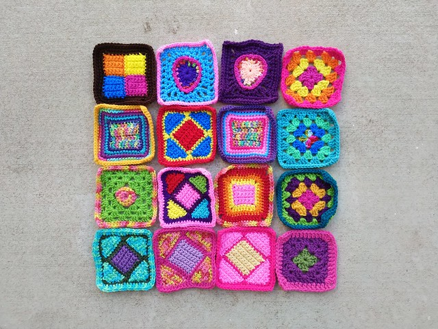 Sixteen rehabbed crochet squares ready for adventure