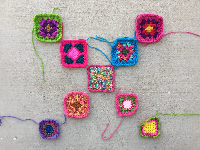 Nine crochet remnants ready for even more rehab