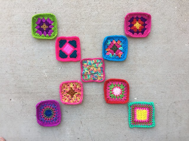Nine newly rehabbed crochet remnants