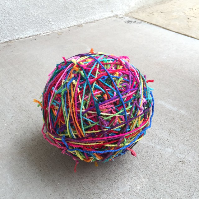 The scrap yarn ball grows larger