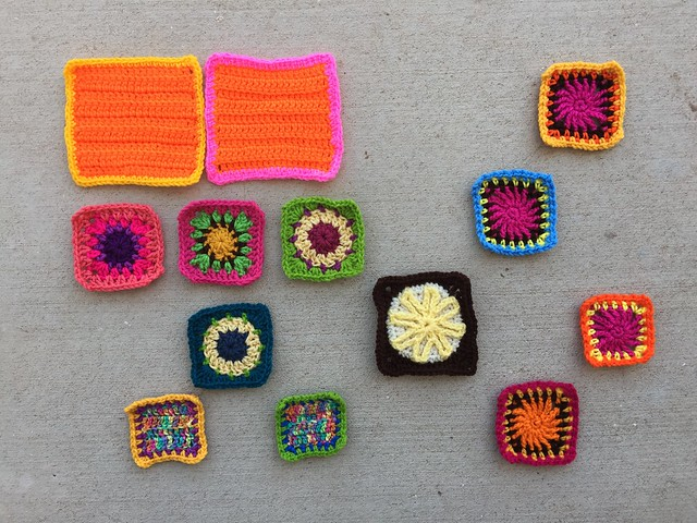Thirteen remnants ready for another round of crochet rehab