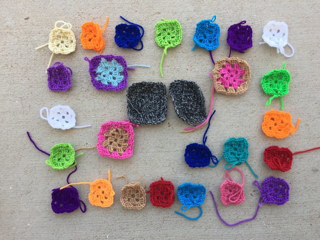 Twenty-seven crochet remnants to rehab!