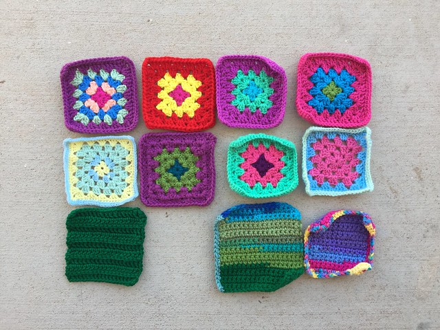 Eleven crochet remnants rehabbed and ready for adventure