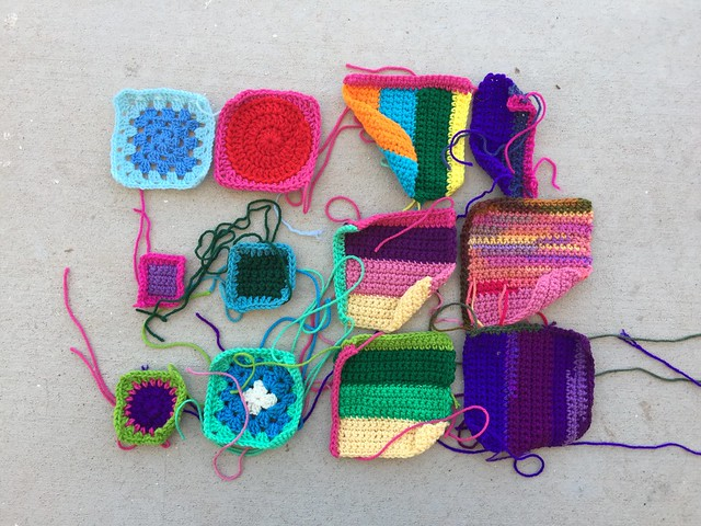 My progress on crochet remnant rehab before lunch