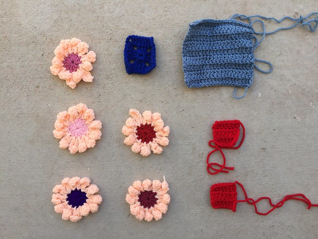 Nine crochet remnants to be rehabbed