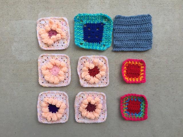 Nine nearly ready rehabbed crochet remnants