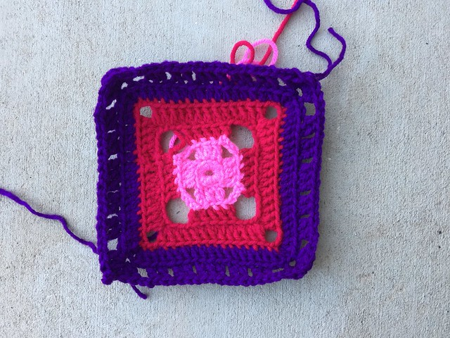 The flamboyant afghan square made with a 5.0 mm hook