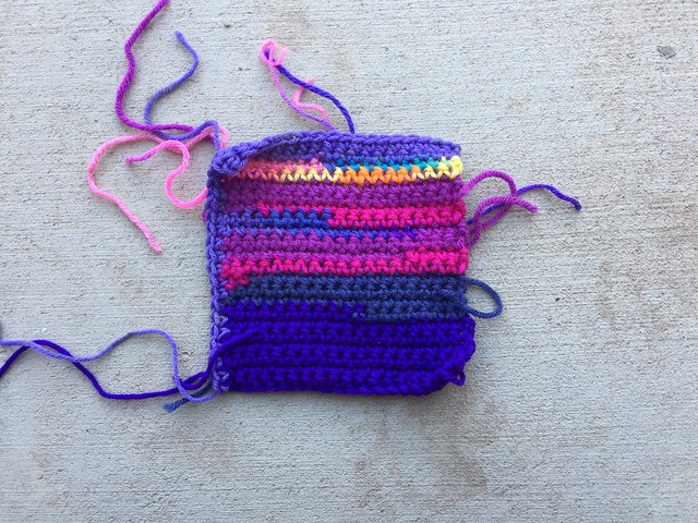 The front of a purple square ready to be finished