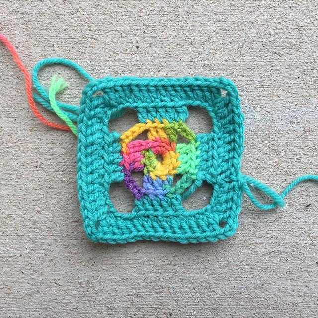 A four-inch flamboyant swag bag granny square