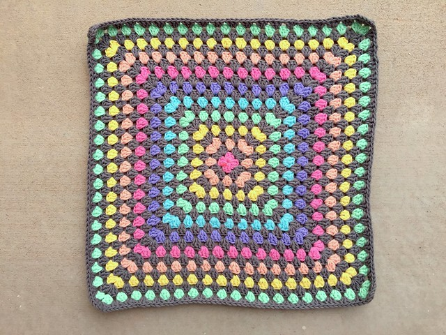 The first eighteen rounds of a thirty-six round granny square blanket