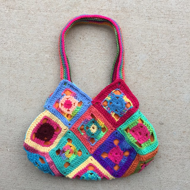 One side of the Flamboyant granny square purse that I entered in the 2019 New Mexico State Fair