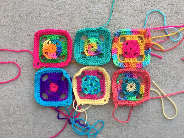 The first half dozen four-inch flamboyant granny squares