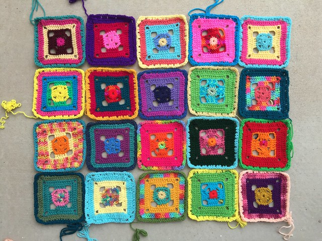 Twenty Flamboyant Afghan granny squares force me to confront crochet reality