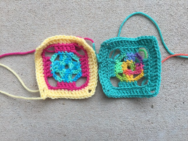 Two four-inch flamboyant swag bag crochet squares