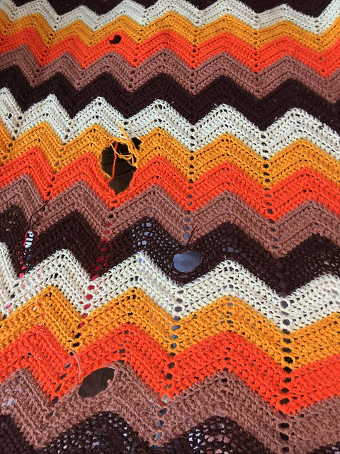 A much beloved crochet ripple afghan circa 1965 one of the crochet comforts spotted at LAX