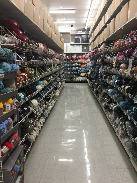 One aisle of yarn in the Pasadena Michaels frequented by the little old lady from Pasadena